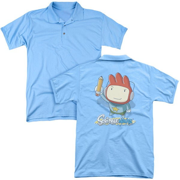 Scribblenauts/Big Max (Back Print) Mens Regular Fit Polo in Carolina Blue