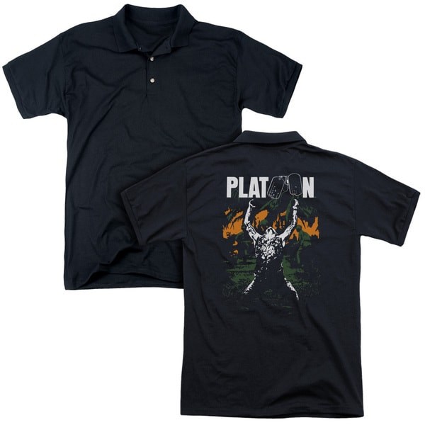 Platoon/Graphic (Back Print) Mens Regular Fit Polo in Black