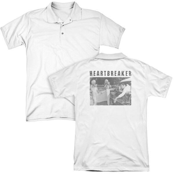 Elvis/Heartbreaker (Back Print) Mens Regular Fit Polo in White
