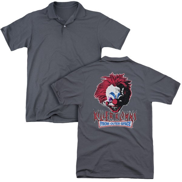 Killer Klowns From Outer Space/Rough Clown (Back Print) Mens Regular Fit Polo in Charcoal