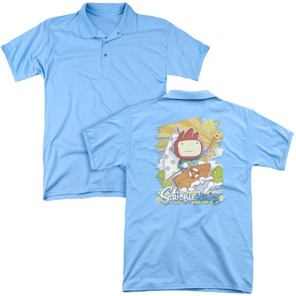 Scribblenauts/Scribble On (Back Print) Mens Regular Fit Polo in Carolina Blue