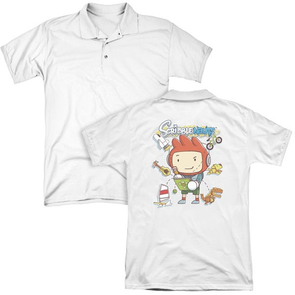 Scribblenauts/Scribble Things (Back Print) Mens Regular Fit Polo in White