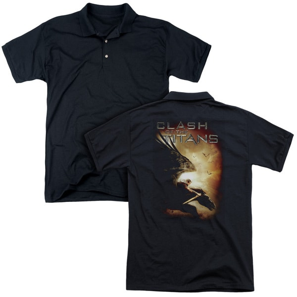 Clash Of The Titans/Pegasus (Back Print) Mens Regular Fit Polo in Black