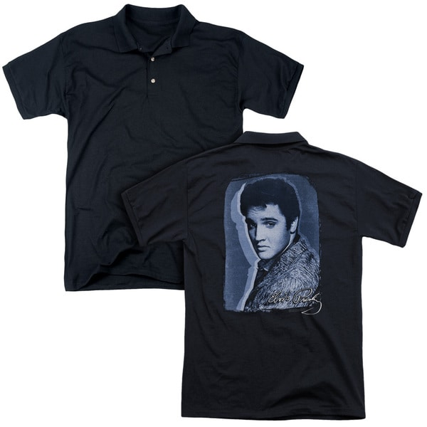 Elvis/Overlay (Back Print) Mens Regular Fit Polo in Black