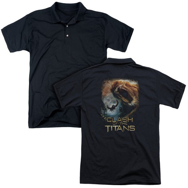 Clash Of The Titans/Kraken Clash (Back Print) Mens Regular Fit Polo in Black