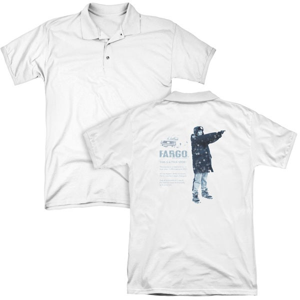 Fargo/This Is A True Story (Back Print) Mens Regular Fit Polo in White