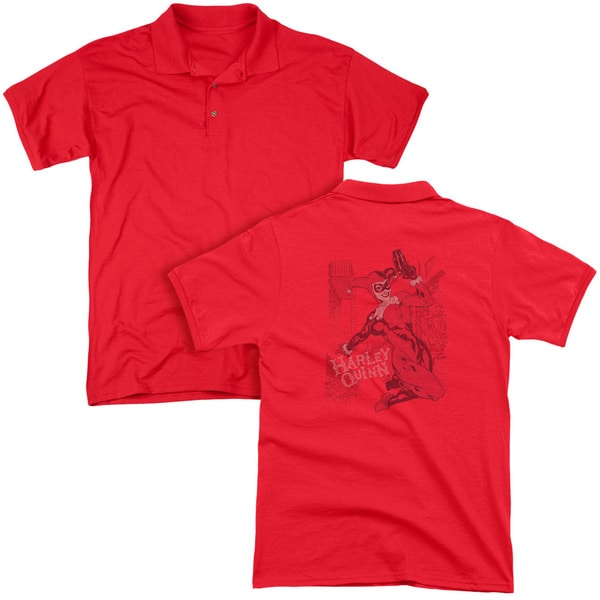 Batman/Harley's Packing (Back Print) Mens Regular Fit Polo in Red