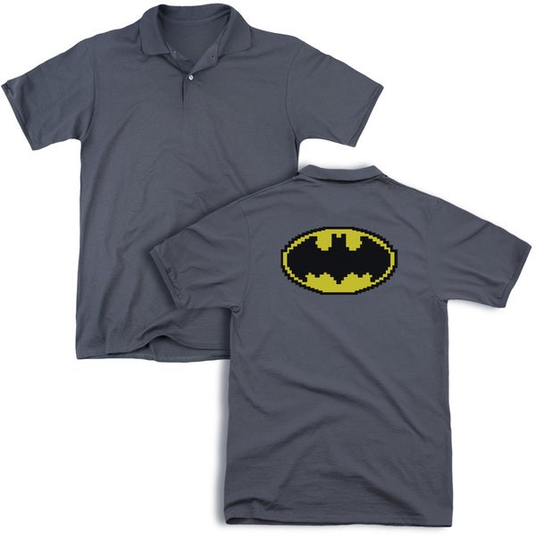 Batman/Pixel Symbol (Back Print) Mens Regular Fit Polo in Charcoal