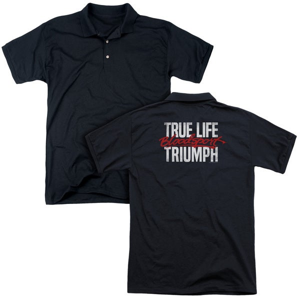 Bloodsport/True Story (Back Print) Mens Regular Fit Polo in Black