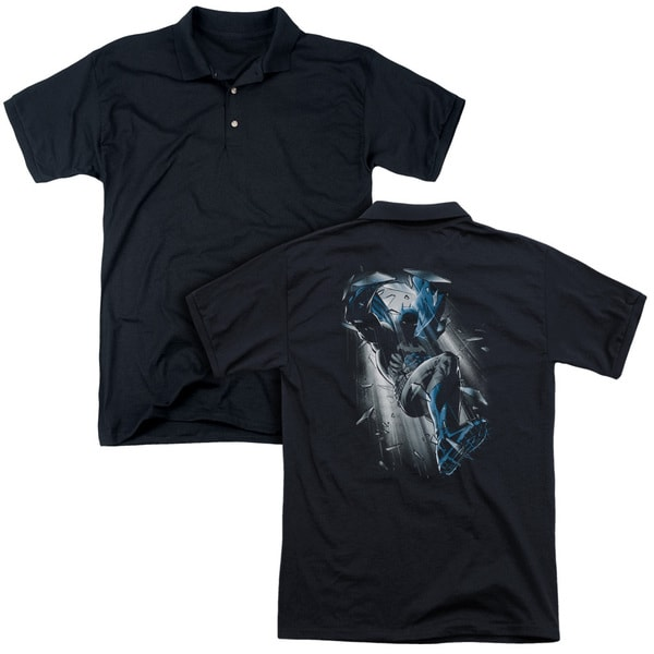 Batman/Bat Crash (Back Print) Mens Regular Fit Polo in Black