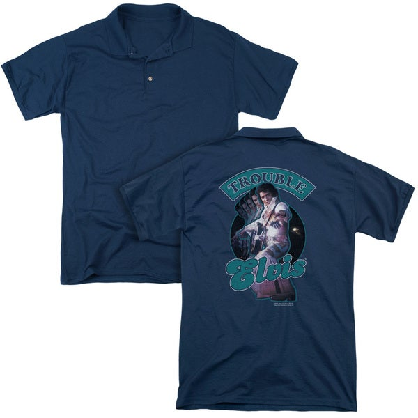 Elvis/Total Trouble (Back Print) Mens Regular Fit Polo in Navy