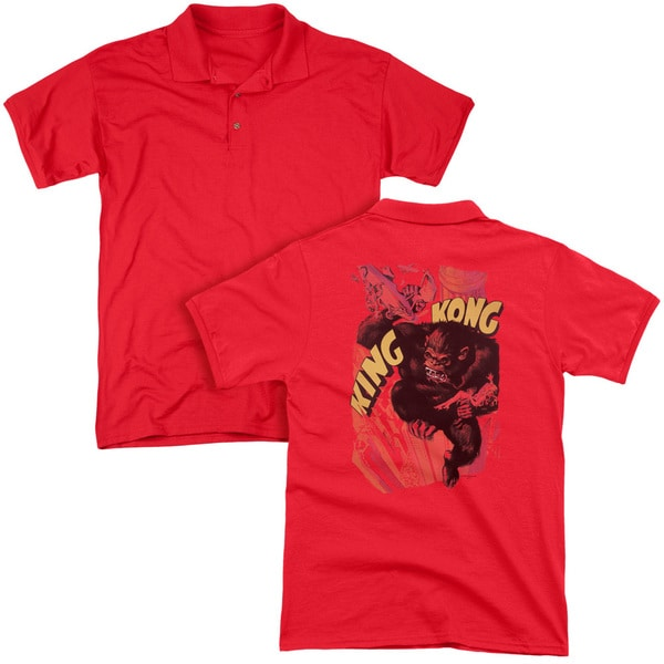 King Kong/Plane Grab (Back Print) Mens Regular Fit Polo in Red