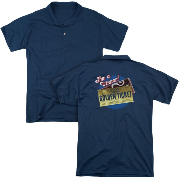 Chocolate Factory/Golden Ticket (Back Print) Mens Regular Fit Polo in Navy