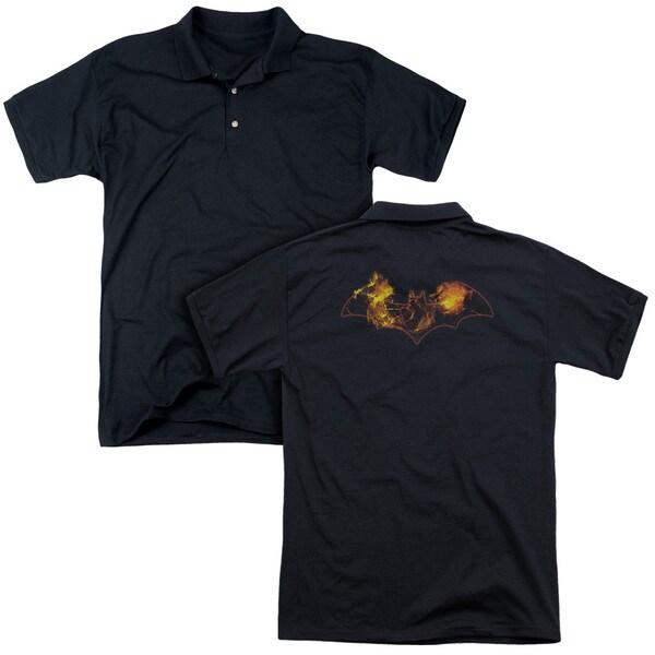 Batman/Molten Logo (Back Print) Mens Regular Fit Polo in Black