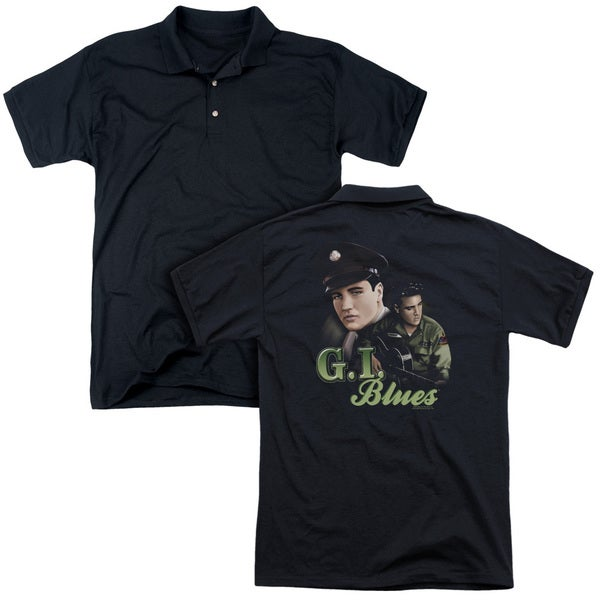 Elvis/G I Blues (Back Print) Mens Regular Fit Polo in Black