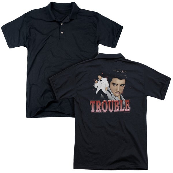 Elvis/Trouble (Back Print) Mens Regular Fit Polo in Black