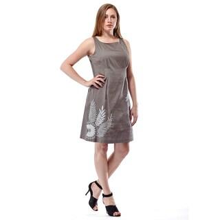 La Cera Women's Grey Cotton Floral Embroidered Front Sheath Dress