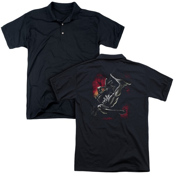 Batman/Kick Swing (Back Print) Mens Regular Fit Polo in Black