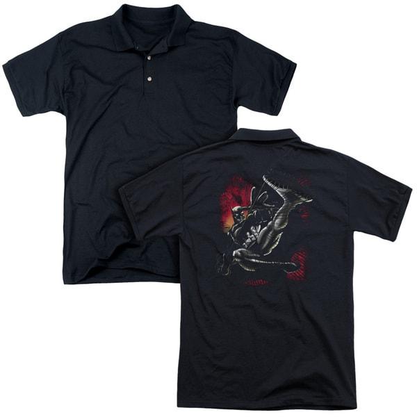 Batman/Kick Swing (Back Print) Mens Regular Fit Polo in Black