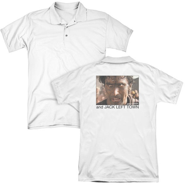 Army Of Darkness/Jack Left Town (Back Print) Mens Regular Fit Polo in White