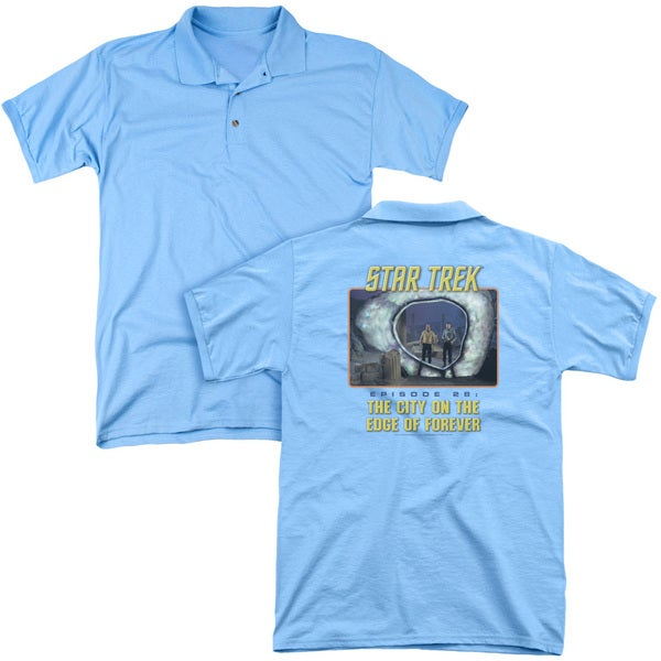 St Original/Edge Of Forever (Back Print) Mens Regular Fit Polo in Carolina Blue