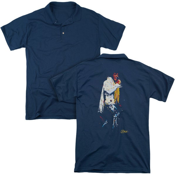 Elvis/Yellow Scarf (Back Print) Mens Regular Fit Polo in Navy