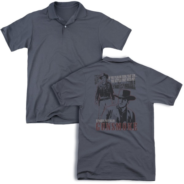 Gunsmoke/Us Marshall Matt Dillon (Back Print) Mens Regular Fit Polo in Charcoal