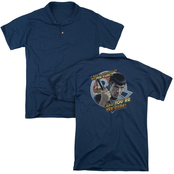 Star Trek/Pon Far (Back Print) Mens Regular Fit Polo in Navy
