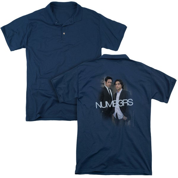 Numb3Rs/Don & Charlie (Back Print) Mens Regular Fit Polo in Navy