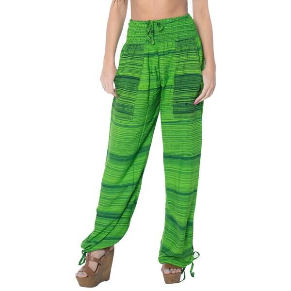 La Leela Soft Rayon Lightweight Women Plush Lounge Nightwear Pajama Pants Green