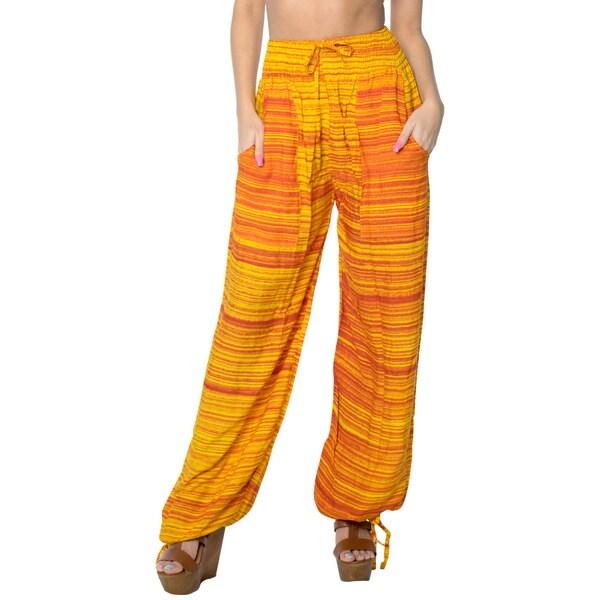 La Leela Soft Rayon Lightweight Women Plush Lounge Nightwear Pajama Pants Orange