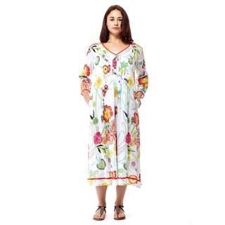 La Cera Women's Multicolored Cotton 3/4-sleeve Mid-length Dress