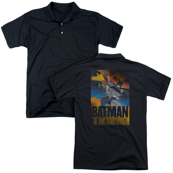 Batman/Dk Returns (Back Print) Mens Regular Fit Polo in Black