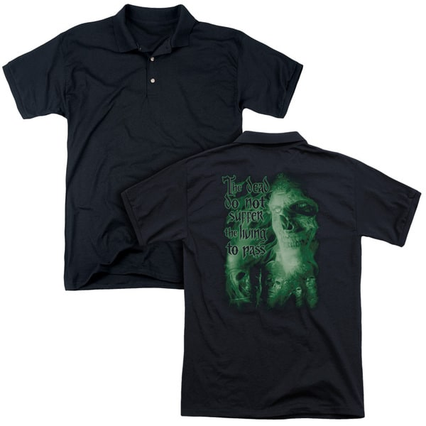 Lord Of The Rings/King Of The Dead (Back Print) Mens Regular Fit Polo in Black