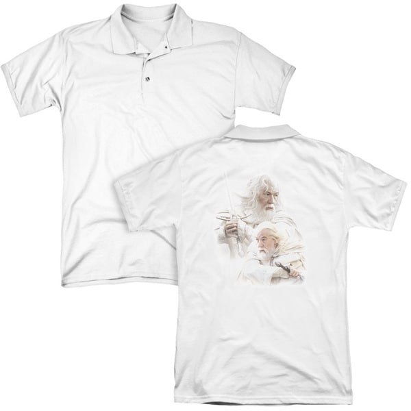 Lord Of The Rings/Gandalf The White (Back Print) Mens Regular Fit Polo in White