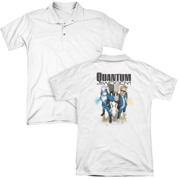Quantum and Woody/Quantum and Woody (Back Print) Mens Regular Fit Polo in White