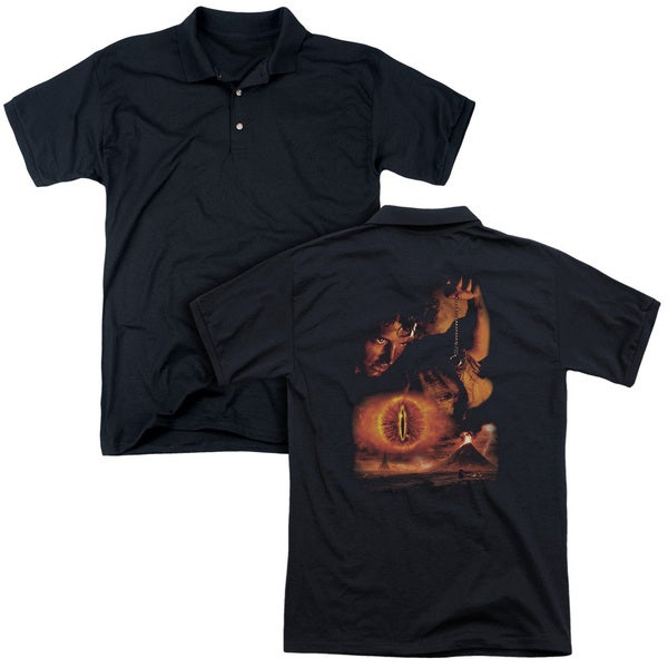 Lord Of The Rings/Destroy The Ring (Back Print) Mens Regular Fit Polo in Black