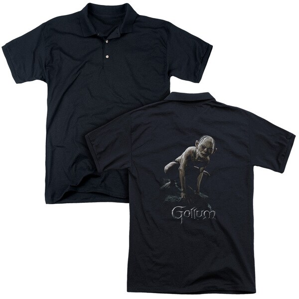 Lord Of The Rings/Gollum (Back Print) Mens Regular Fit Polo in Black