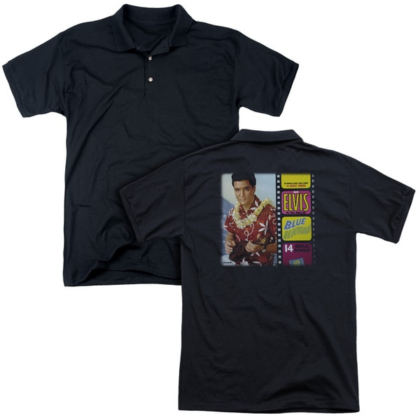 Elvis/Blue Hawaii Album (Back Print) Mens Regular Fit Polo in Black