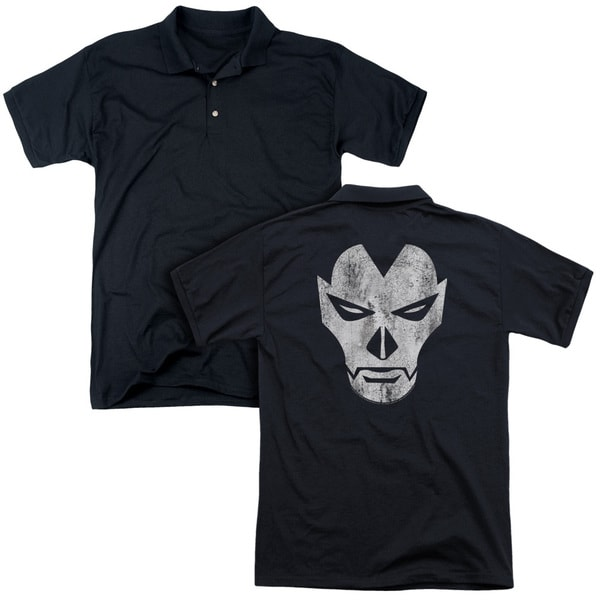 Shadowman/Face (Back Print) Mens Regular Fit Polo in Black