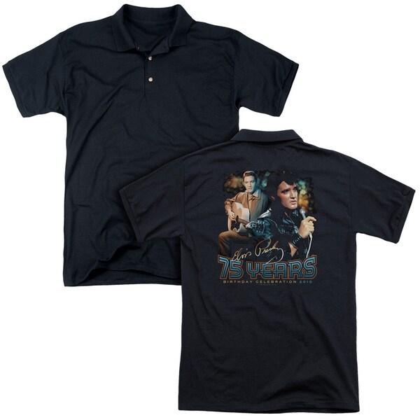 Elvis/75 Years (Back Print) Mens Regular Fit Polo in Black