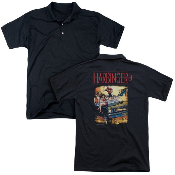 Harbinger/Vintage Harbinger (Back Print) Mens Regular Fit Polo in Black