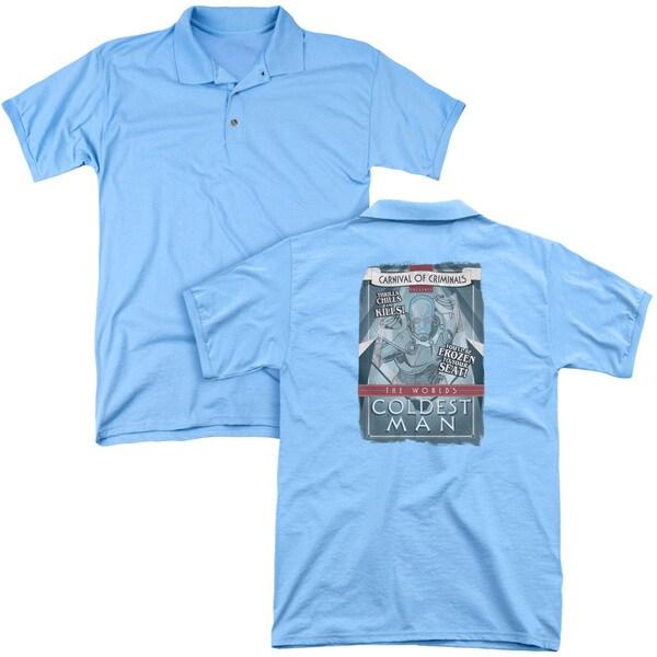Batman/Coldest Man (Back Print) Mens Regular Fit Polo in Carolina Blue