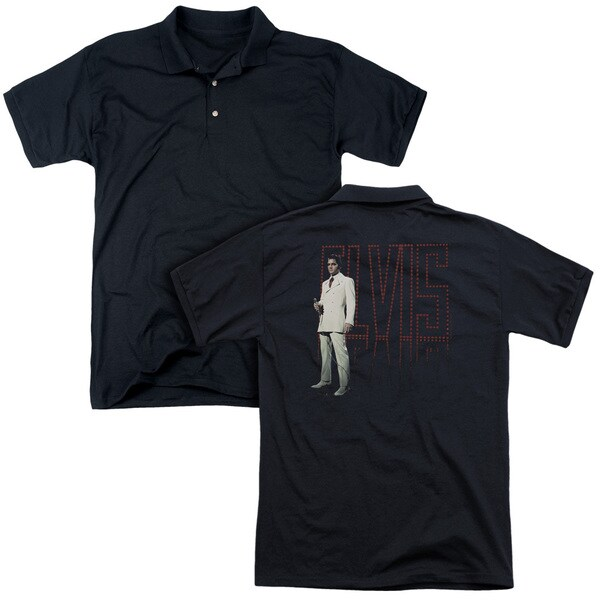 Elvis/White Suit (Back Print) Mens Regular Fit Polo in Black
