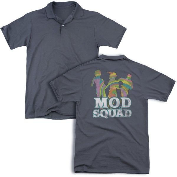 Mod Squad/Mod Squad Run Groovy (Back Print) Mens Regular Fit Polo in Charcoal