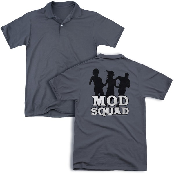 Mod Squad/Mod Squad Run Simple (Back Print) Mens Regular Fit Polo in Charcoal