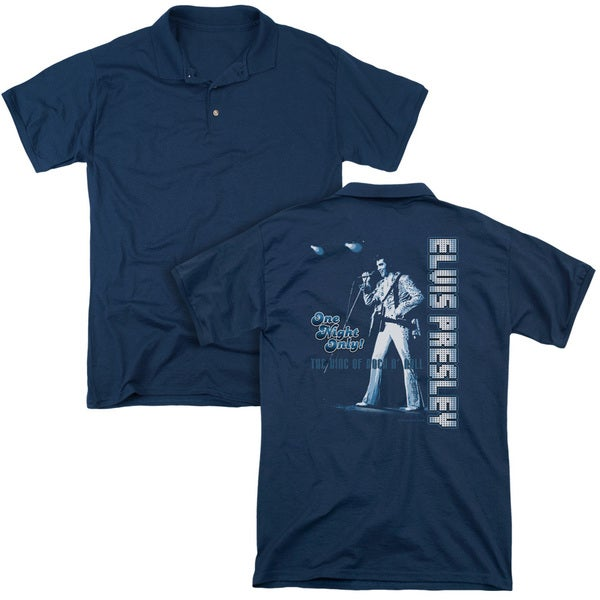 Elvis/One Night Only (Back Print) Mens Regular Fit Polo in Navy