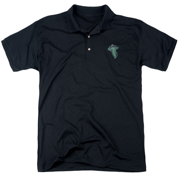 Lord Of The Rings/Embroidered Leaf Mens Regular Fit Polo in Black
