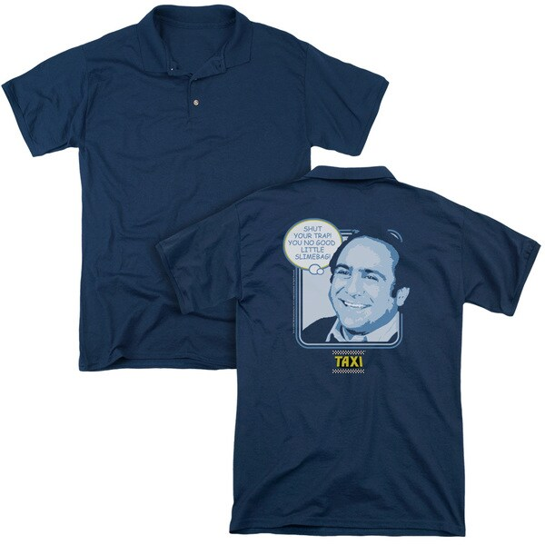 Taxi/Shut Your Trap (Back Print) Mens Regular Fit Polo in Navy