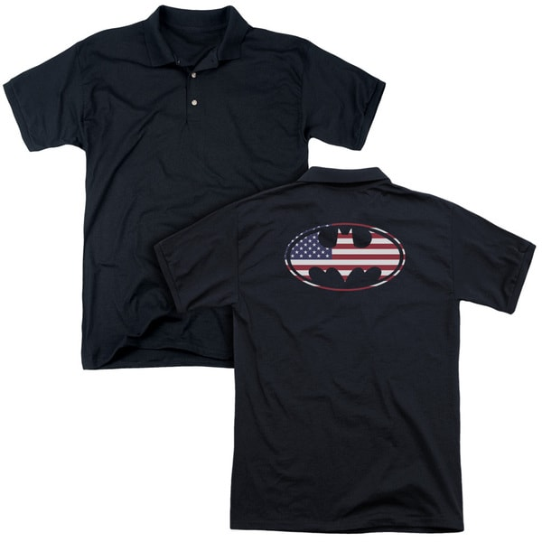Batman/American Flag Oval (Back Print) Mens Regular Fit Polo in Black